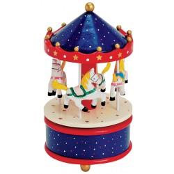 Boîte à musique manège en bois bleu rouge or 19 cm