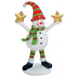 Figurine Noël bonhomme de neige étoile résine 9 cm