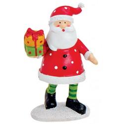 Figurine Père Noël cadeau résine 9 cm