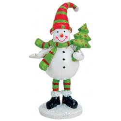 Figurine Noël bonhomme de neige sapin résine 9 cm