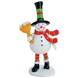 Figurine Noël bonhomme de neige balayette résine 9 cm