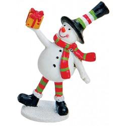 Figurine Noël bonhomme de neige cadeau résine 9 cm