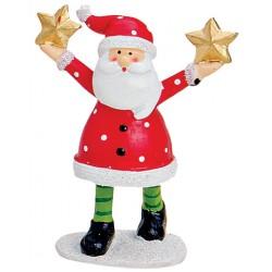 Figurine Père Noël étoiles résine 9 cm