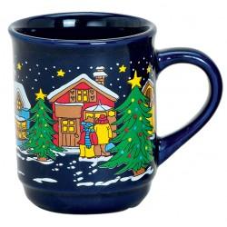 Tasse de Noël bleu nuit céramique 20 cl