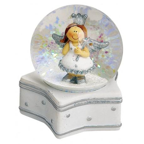 Boule à neige ange argenté étoile résine 9 cm