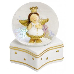 Boule à neige ange doré étoile résine 9 cm