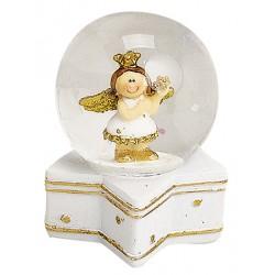 Boule à neige ange doré étoile résine 6 cm
