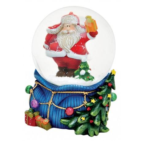 Boule à neige Père Noël hotte bleu résine 6 cm