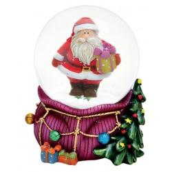 Boule à neige Père Noël hotte violet résine 9 cm