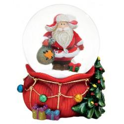 Boule à neige Père Noël hotte rouge résine 9 cm