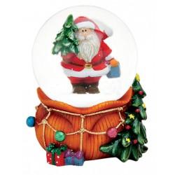 Boule à neige Père Noël hotte orange résine 9 cm