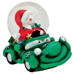 Boule à neige Bonhomme de neige voiture vert résine 6 cm