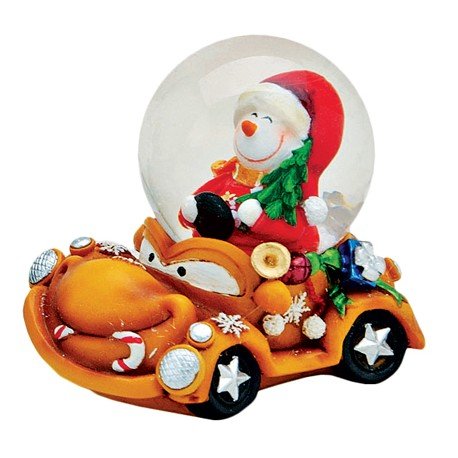 Boule à neige Bonhomme de neige voiture orange résine 6 cm