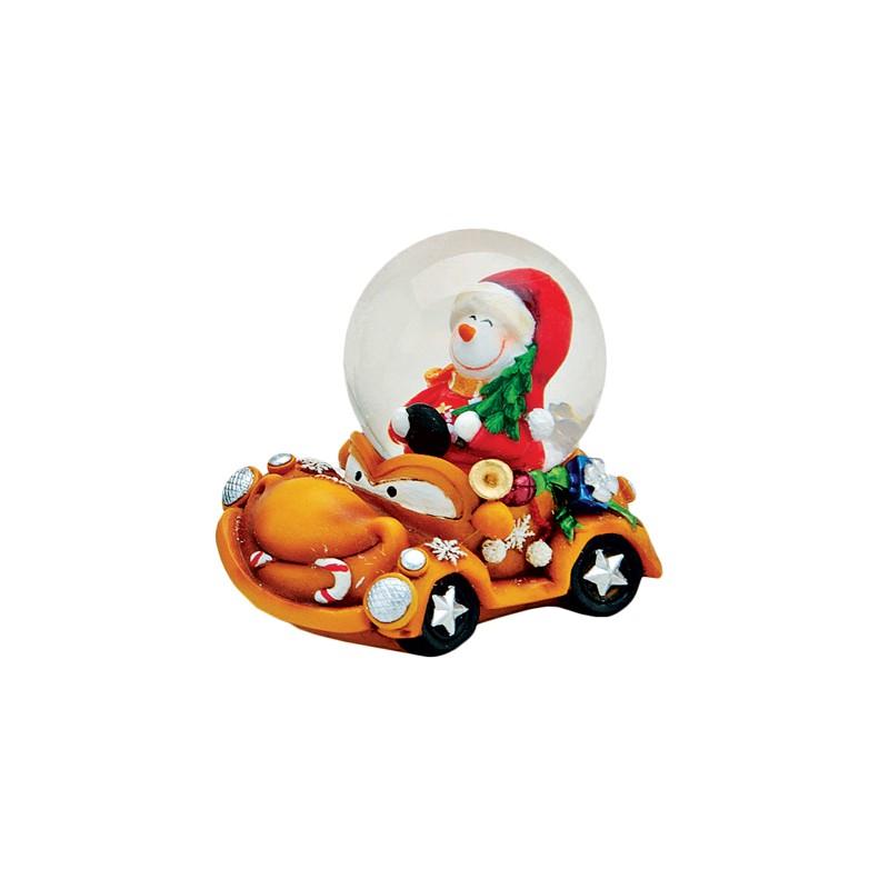 boule neige bonhomme de neige voiture orange r sine 6 cm la magie des automates. Black Bedroom Furniture Sets. Home Design Ideas