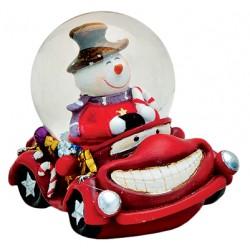 Boule à neige Bonhomme de neige voiture rouge résine 6 cm