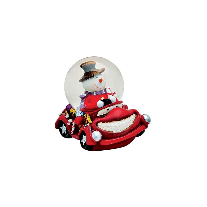 boule neige bonhomme de neige voiture rouge r sine 6 cm la magie des automates. Black Bedroom Furniture Sets. Home Design Ideas