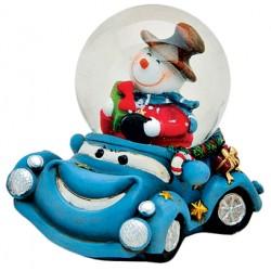 Boule à neige Bonhomme de neige voiture bleu résine 6 cm