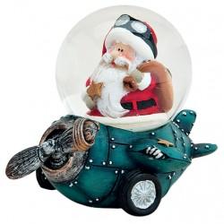 Boule à neige Père Noël avion bleu résine 6 cm