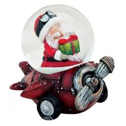 Boule à neige Père Noël avion rouge résine 6 cm