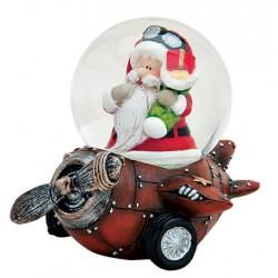 Boule à neige Père Noël avion marron résine 6 cm