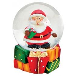 Boule à neige Père Noël cadeau résine 6 cm
