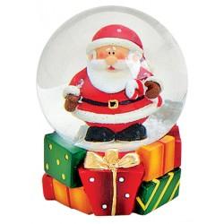Boule à neige Père Noël sucre d'orge résine 6 cm