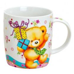 Tasse ourson porcelaine 30 cl cadeau bleu jaune