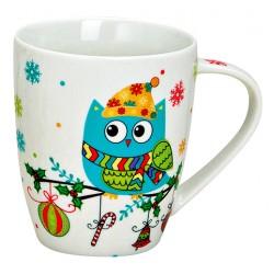 Tasse hibou bleu hiver porcelaine 35 cl