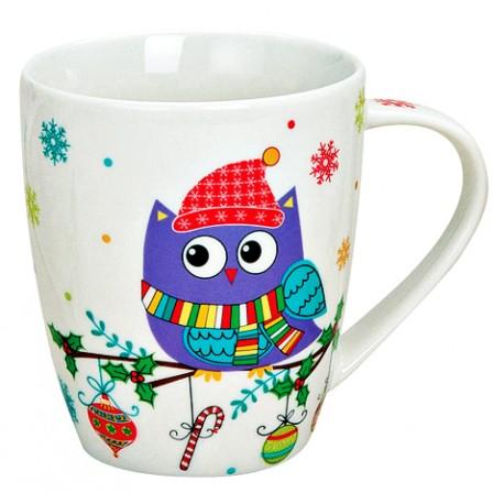 Tasse hibou violet hiver porcelaine 35 cl