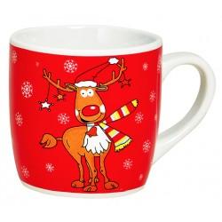 Tasse Noël rouge Renne céramique 20 cl