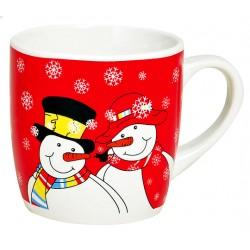 Tasse Noël rouge Bonhommes de neige céramique 20 cl