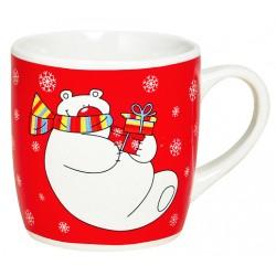 Tasse Noël rouge Ours polaire céramique 20 cl