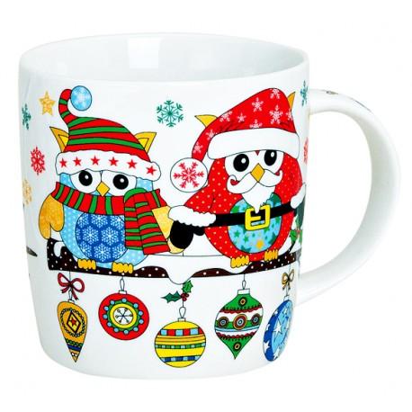 Tasse hiboux Noël bleu rouge porcelaine 30 cl