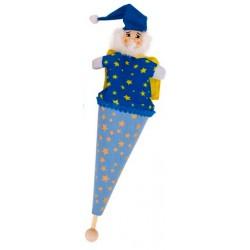 Marotte magicien en bois et tissu 23 cm