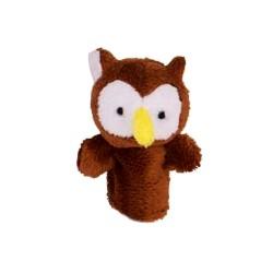 Marionnette à doigt en peluche Hibou marron 8 cm