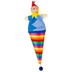 Marotte clown en bois et tissu 23 cm