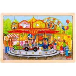 Puzzle cadre enfant en bois manège fête foraine 24 pièces