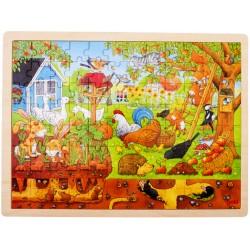 Puzzle cadre enfant en bois animaux du jardin 96 pièces