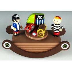 Boîte à musique bascule pirates marron en bois 17 cm
