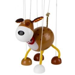 Marionnette à fils chien en bois marron 16 cm