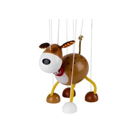 Marionnette à fils chien en bois marron 15 cm