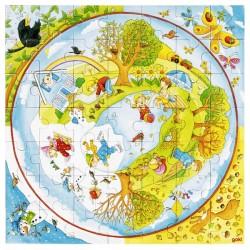 Puzzle enfant rond saisons 49 pièces
