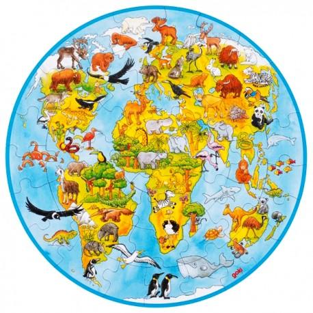 Puzzle enfant rond animaux du monde 49 pièces