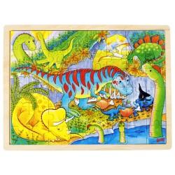 Puzzle cadre enfant en bois dinosaures 48 pièces