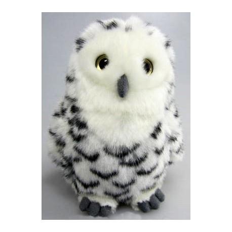 Peluche hibou blanc tacheté noir 18 cm
