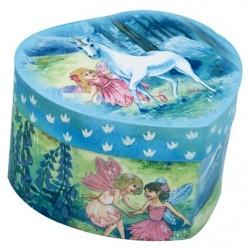 Boîte à bijoux musicale coeur bleu fée et licorne 14 cm