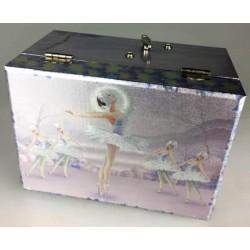 Boîte à bijoux brillante rectangle violet danseuses et cygnes 15 cm