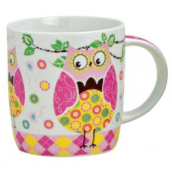 Tasse hibou rose porcelaine 30 cl