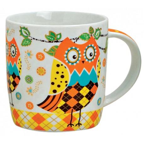 Tasse hibou orange porcelaine 30 cl
