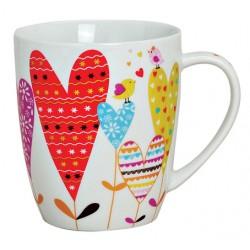 Tasse coeur rouge oiseaux porcelaine 30 cl